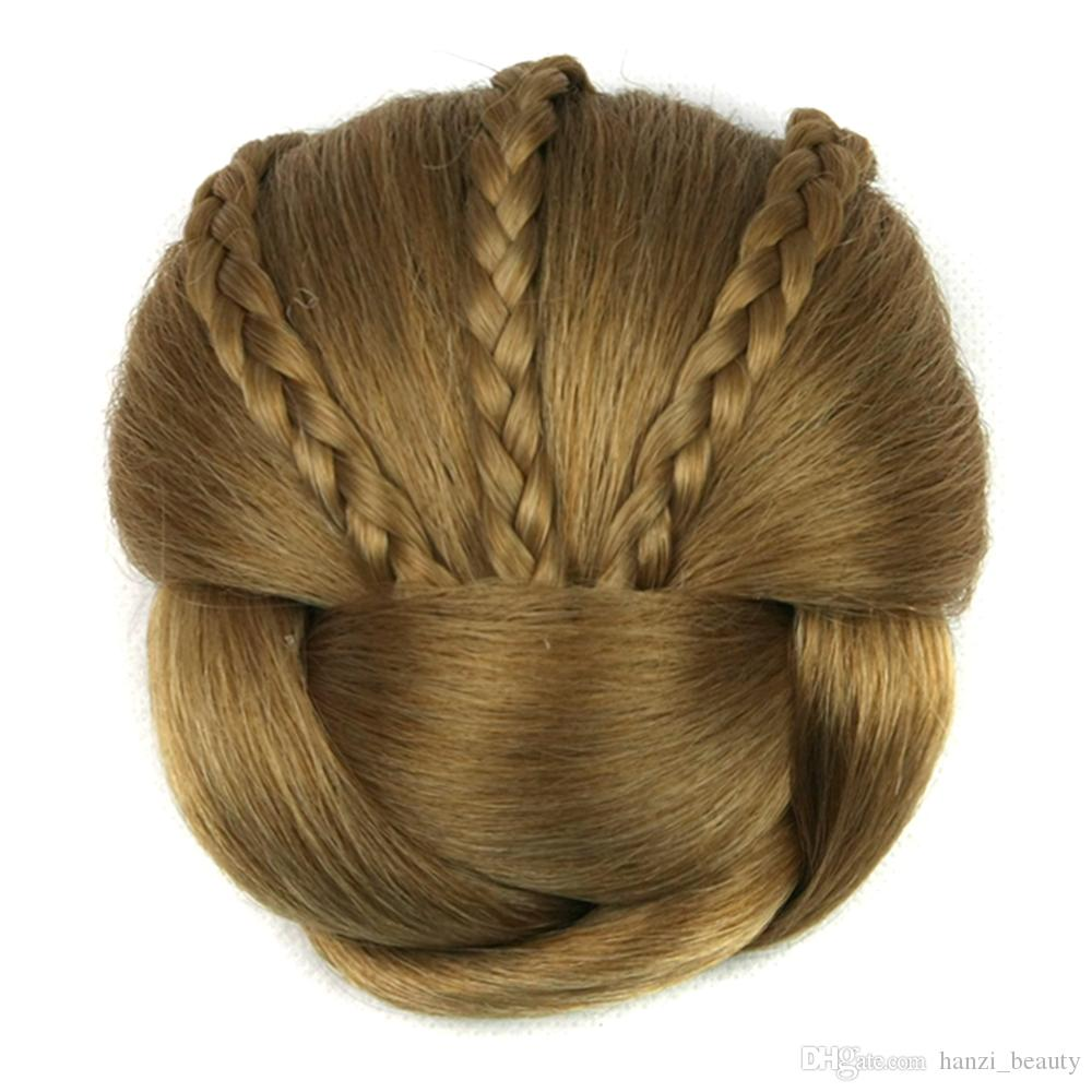 hanzi_beauty Soloowigs Heat Resistant Fiber 6 Colors Women Clip-in Braided Chignon Synthetic Hair Buns for Brides