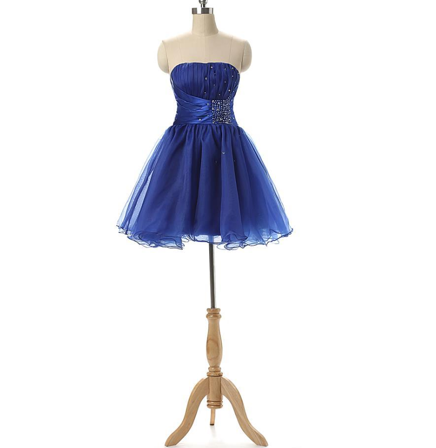 Short Graduation / Homecoming Club Party Kleider 2016 Trägerlose Falten Perlen Royal Blue Teens Formale Gelegenheit Kleid Günstige Echt Fotos