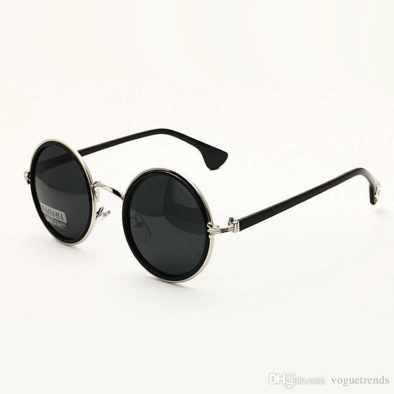 Retro okrągłe okulary przeciwsłoneczne dla mężczyzn / kobiety zawias ramy spolaryzowane obiektyw zniżki / damskie UV400 Vintage okrągły okulary Okulary