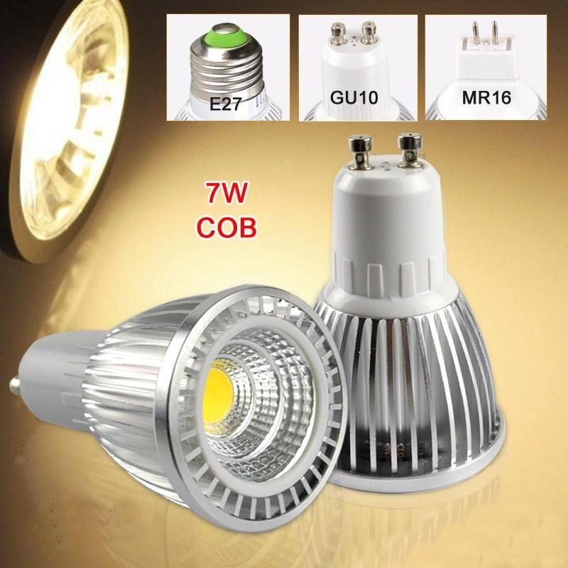 GU10 7W COB LED بقعة ضوء لمبة توفير الطاقة مشرق GU 10 أضواء بقعة مصباح 7 واط 85-265V 700LM دافئ الأبيض أبيض بارد CE روش شحن مجاني