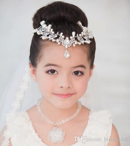Luxury Crystal Pearls Kid Head Wear Pieces For Party Costume Ball Girl Birthday Gifts Jewelry Kids Accessories