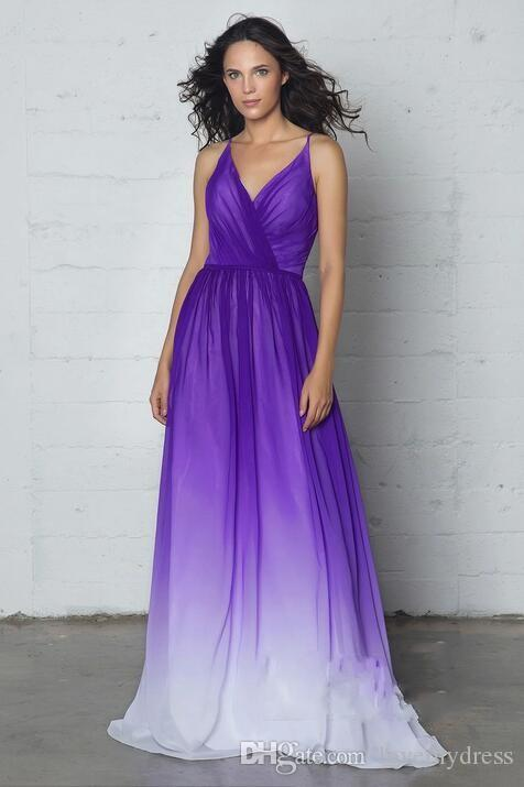 cc870e633f43 ... 2019 Simples Barato Ombre Gradiant Evening Vestidos Formais Plus Size  Com decote em V pescoço cintas ...