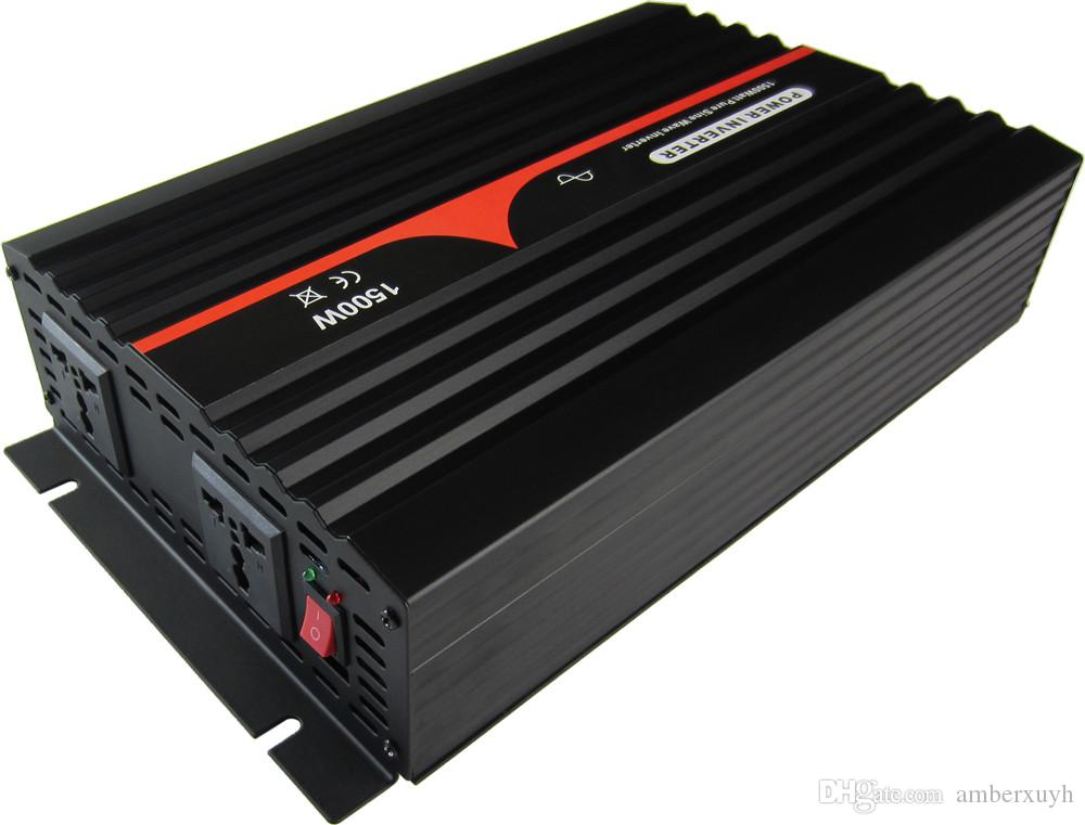 Frete grátis 12VDC para 230VAC 50HZ Universal soquete 1500W Pure Sine Wave Off Grid Solar Power Converter