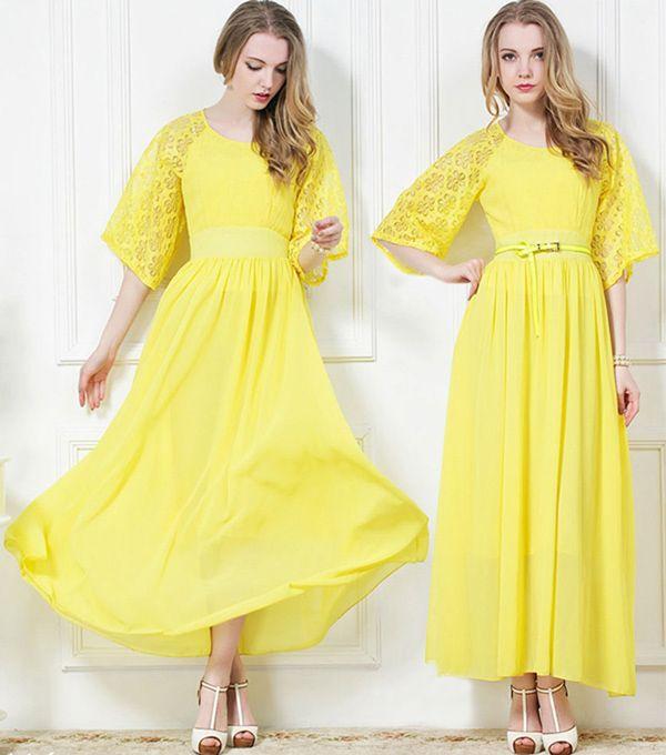 エレガントな2018新しいファッション女性ビンテージシフォンレースドレスマキシドレスボヘミアンビーチドレスロングイブニングドレスボールガウン