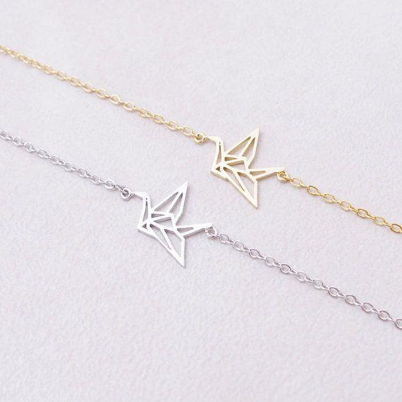 30 шт.-B017 серебро золото симпатичные оригами кран браслеты Лесной бумаги кран браслет крошечные животных повезло Baby Bird браслет для женщин