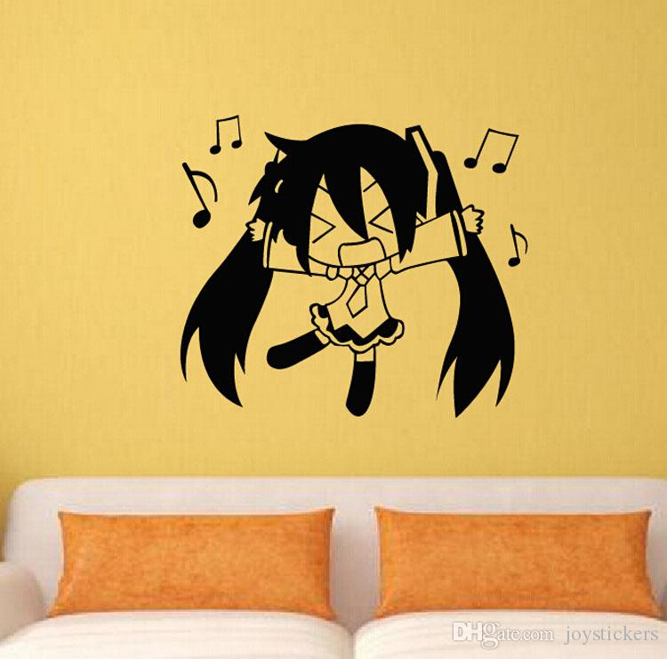 Anime Cartoon Q Style Hatsune Miku Singing Music Sketch Cool Propile Wall Sticker Decal Home Decor For Anime Fans