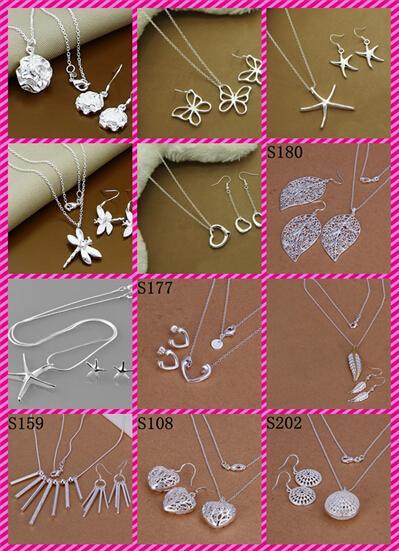 12 estilos brincos de prata esterlina 925 + conjunto de jóias de colar