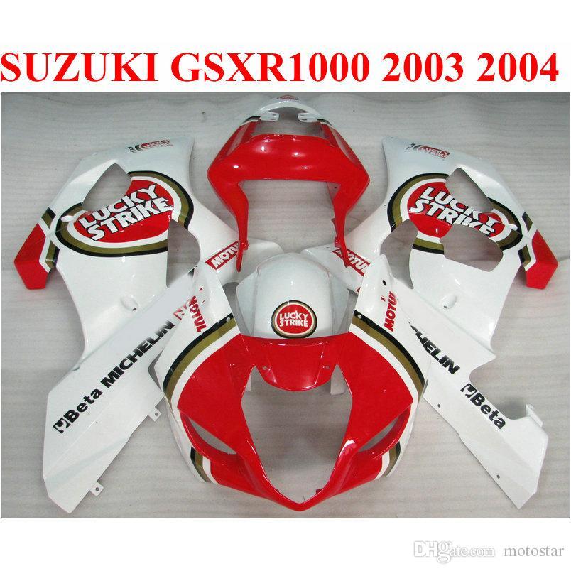 fairings دراجة نارية ل SUZUKI GSXR 1000 K3 k4 2003 2004 أبيض أحمر