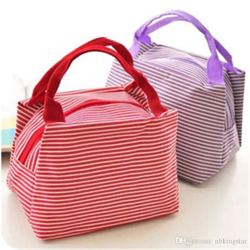 Outdoor Lunch Box Bag Thermal Insulated Lunch Box Tote Cooler Canvas Zipper Bag Bento Lunch Pouch Hot Insulation Bag For Kids 10Pcs/Lot