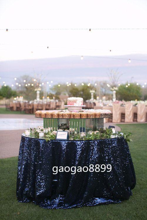 "2019 new cheap Custom Size ""Great Gatsby"" Table Cloth Hot sale fancy wedding round navy sequin table cloth 120*120"