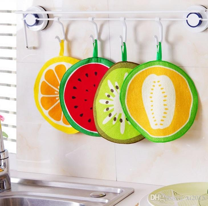 Lovely Fruit Print Hanging Kitchen Hand Towel Microfiber Towels Quick-Dry Cleaning Rag Dish Cloth Wiping Napkin wen4722