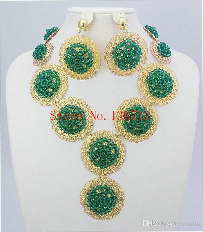 Hot New Bijoux de mariée rouge perles de mariage d'Afrique du Nigeria Ensemble de bijoux en cristal de mode cadeau Neckalce Livraison gratuite CC101-1