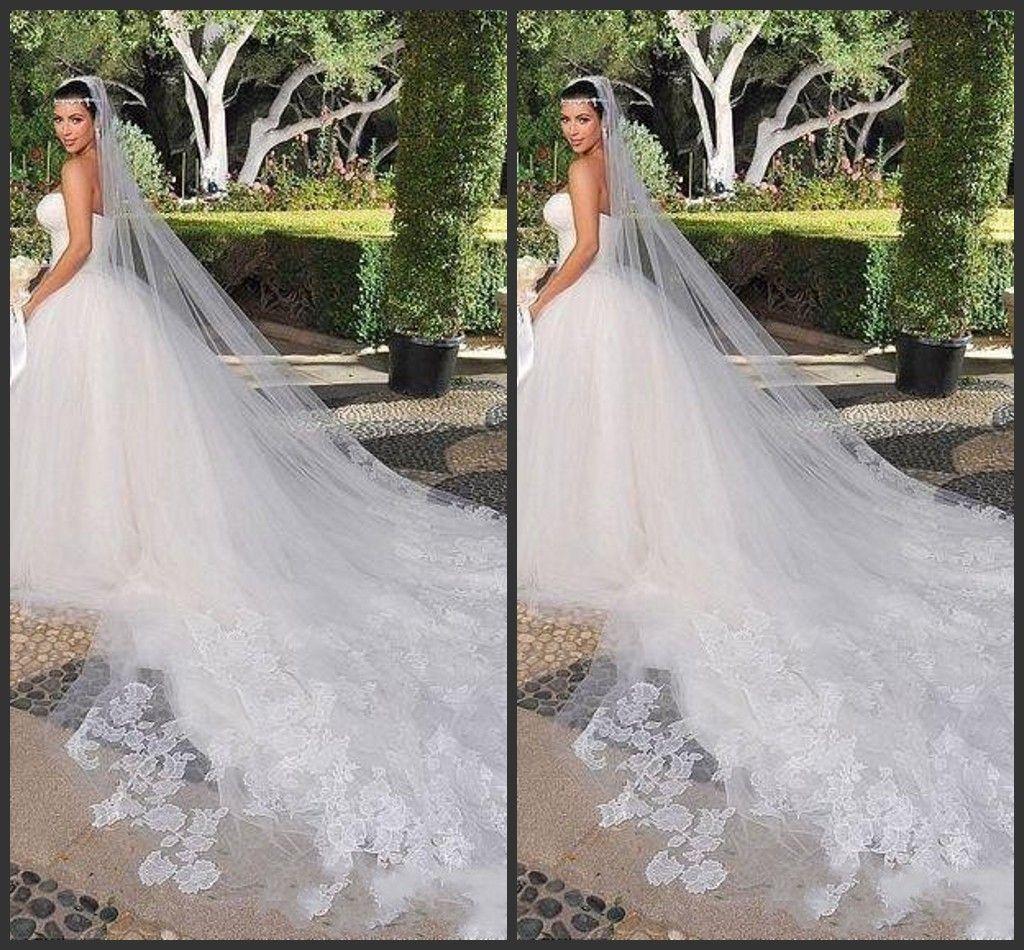 Gelin Veils Kim Kardashian Yeni En İyi Satış Büyüleyici Beyaz Fildişi Bir Katmanlı Katedrali Gelin Düğün Peçe Özel 3 Metre Dantel
