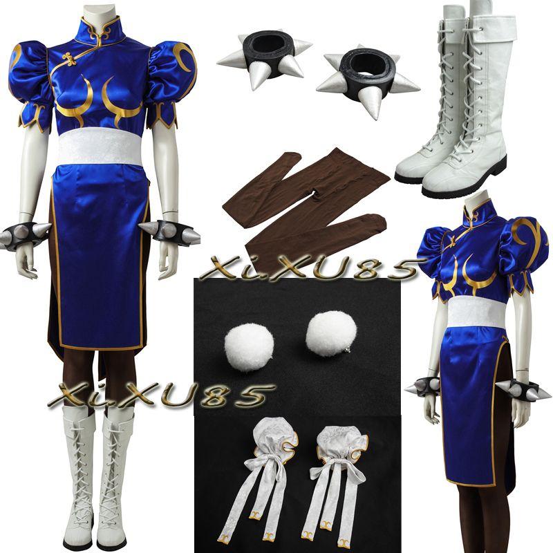 Street Fighter Chun Li Costume With Accessories Cosplay Street