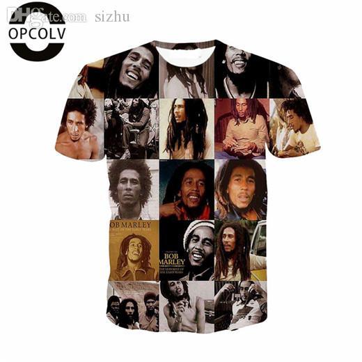 Großhandels-OPCOLV-Sommer-Art-Männer / Druck der Frauen-3d Bob Marley / Schädel / Gewehr / Stadtt-shirt Lustige Grafik-T-Shirts Arbeiten Sie Harajuku-T-Shirt um