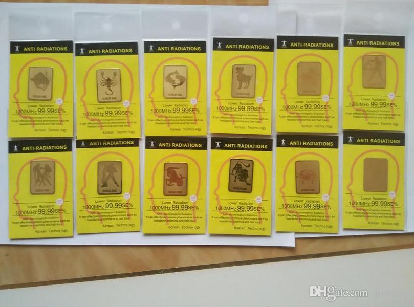 Wholesale zodiac 24K gold mobile phone anti radiation sticker Bio negative ion Scalar Energy sticker12 constellation 50pcs/bag free shipping