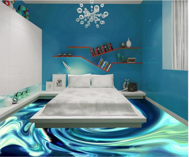 Wall paper Crystal blue abstract pattern Floor wallpaper mural wall stickers wallpaper papel de parede wallpapers20153042