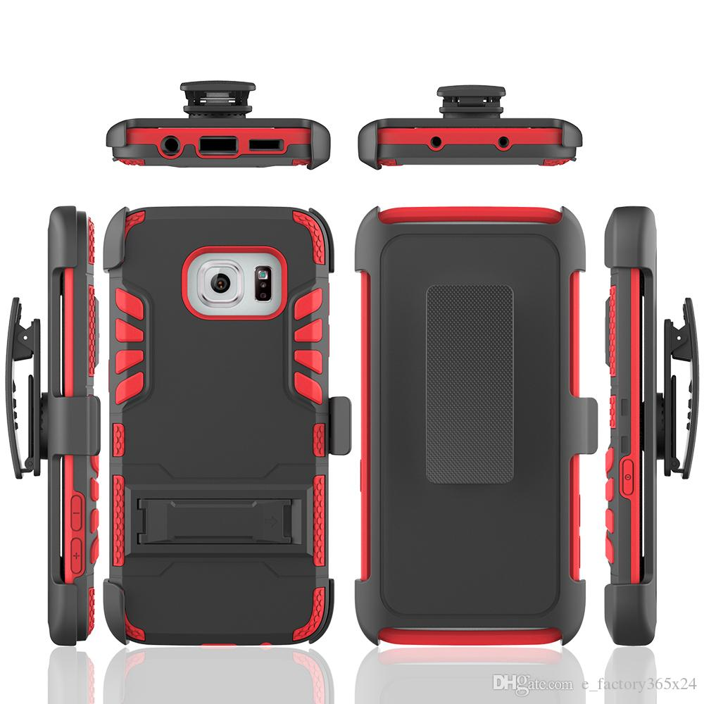 Rugged Cell Phone Cases PC TPU Hybrid Shockproof Armor Heavy Duty Phone  Covers With Clip Kickstand ...