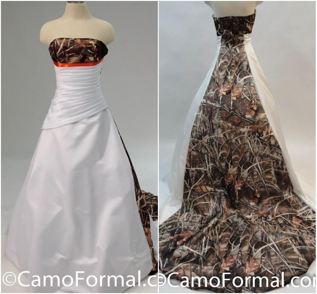 Discount Plus Size Camo Accented Dress Strapless Realtree Camo Wedding  Dresses Zipper Back A Line Bride Formal Gowns With Camouflage Long Train  2015 ...