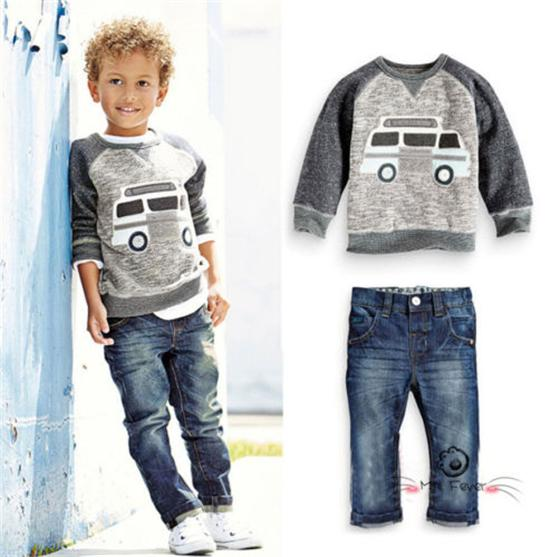 Jeans Set Kids Casual Clothes Outfits 2Pcs Kids Baby Boys Long Sleeve Coat Tops