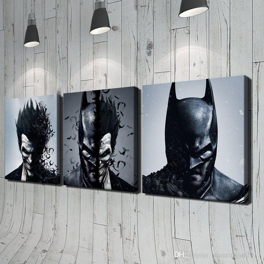Batman y Joker 3 unids Moderno Moive Retrato HD Pintura al óleo Imprimir en lienzo Decoración de la pared del hogar Sin marco Decoración para el hogar