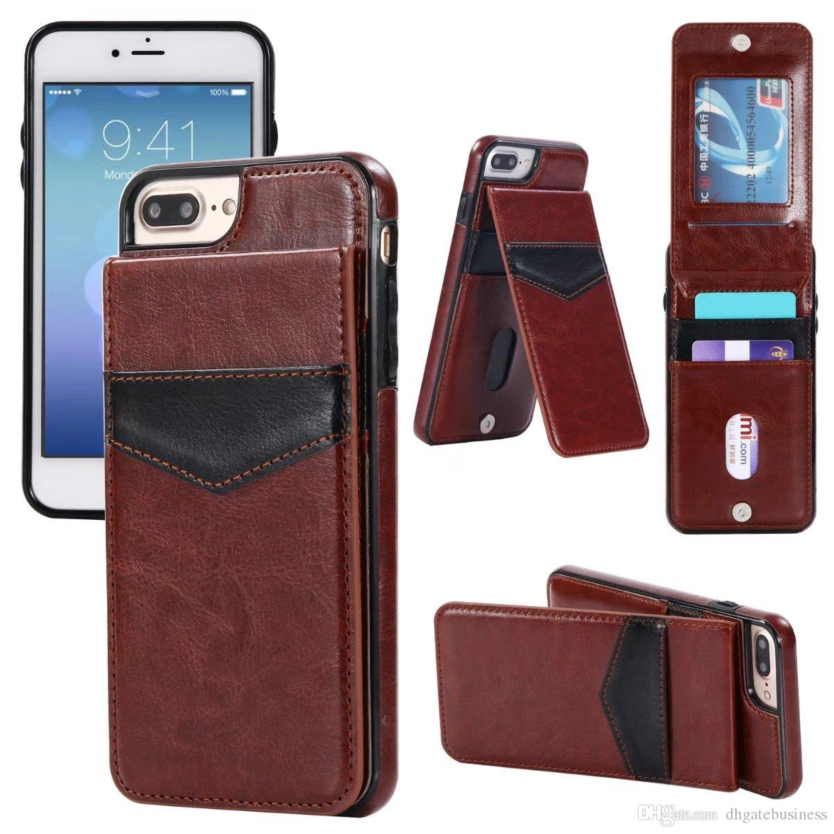 Luxury Flip Leather Cases For iPhone x 7 6 6s 8 Plus Vertical Wallet Card Phone Case cover For samsung s8 plus