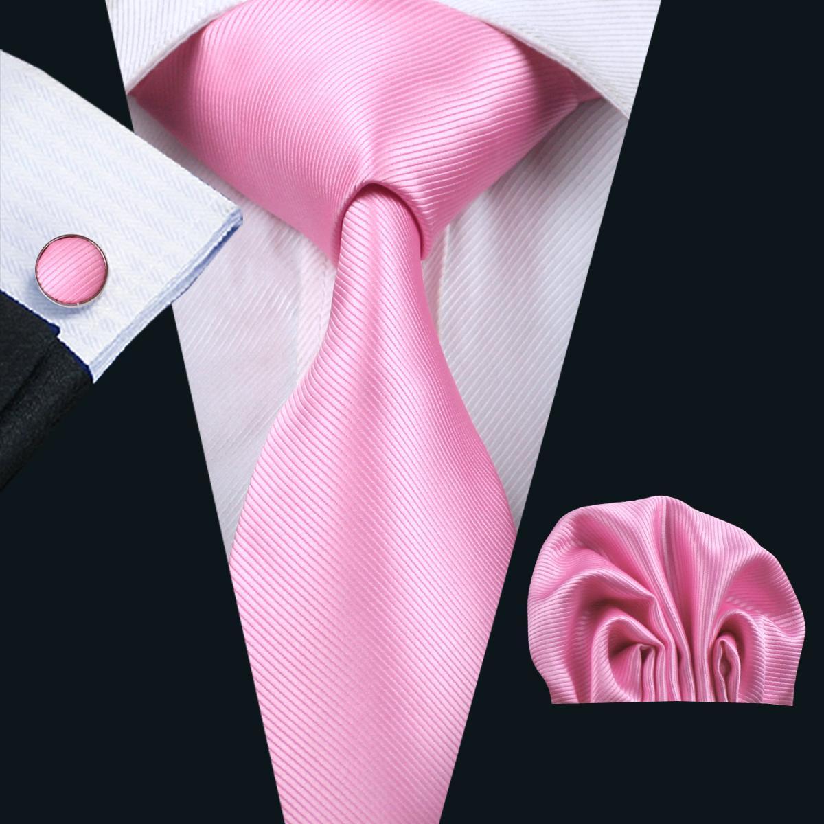 핑크 넥타이 손수건 커프스 단추 세트 자카드 짠 남성 넥타이 비즈니스 정장 정장 회의 레저 N-0820