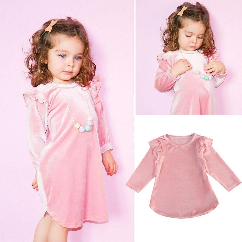 El más nuevo bebé vestido de primavera otoño rosa vestido de terciopelo bebé niñas sueltas una línea de vestidos de princesa Pleuche manga larga Casual Mini vestido