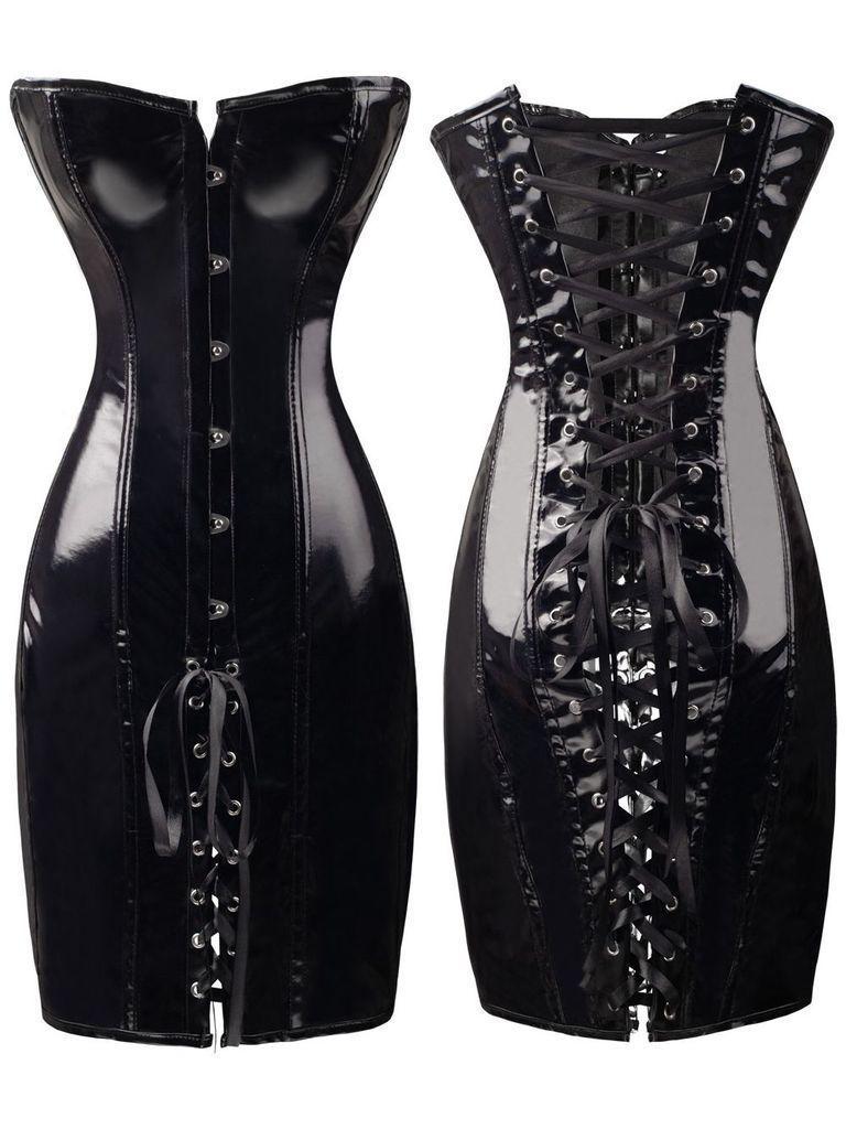 New Women Noble PVC Leather Erotic Bustier Hook Busk Top Corset with Dress Black Steel Boned Waist Training Corset