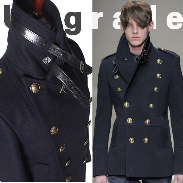 UK Mens Collared Button Peacoat Winter Slim Fit Long Trench Coat Jacket Overcoat