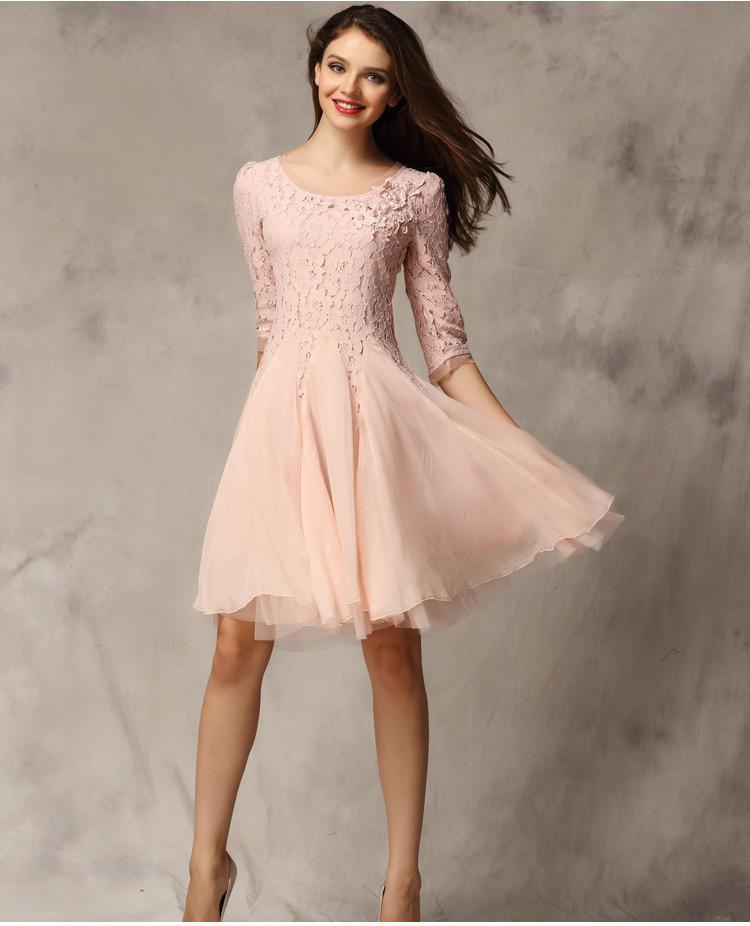4e2358118c982 Ucuz Dantel Şifon Kısa Gelinlik Modelleri Jewel Bir Çizgi Düğün Parti Elbise  Genç Gelin Kıyafeti Balo ...