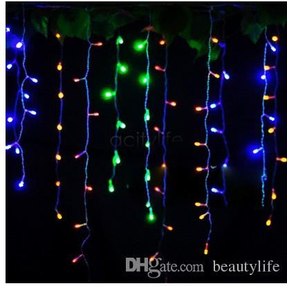 Férias de Natal Jardim Cortina Icicle Corda Luzes Led Decoração 8 Modos de Flash 110 v-220 V 4mx0.75 m 144 LEDs À Prova D 'Água