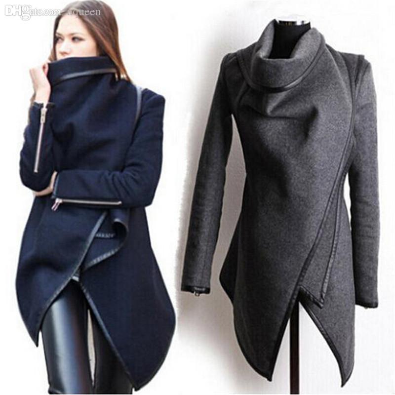Wholesale-New woman Fashion winter woolen overcoat women fashion Jackets woolen coat 4 colors 9139 Drop shipping
