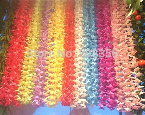 الحرير كوبية زهرة الروطان 40 قطع 220 سنتيمتر / 86.61 بوصة كوبية الاصطناعي فاينز ل حفل زفاف عيد الجدار الشنق