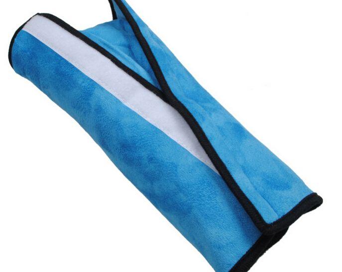 2PCS الطفل سلامة السيارة حزام حزام الكتف وسادة وسادة غطاء وسادة دعم وسادة الوردي الأزرق