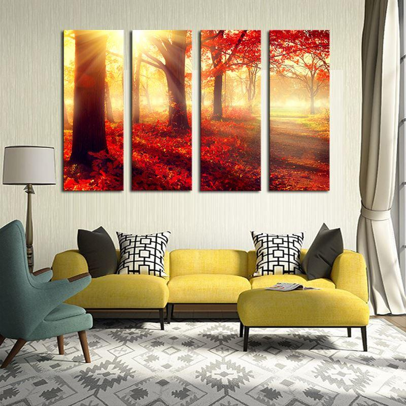 4 Pcs (No Frame) Red Trees Wall Art Picture Modern Home Decoration Living Room or Bedroom Canvas Print Painting Wall Picture