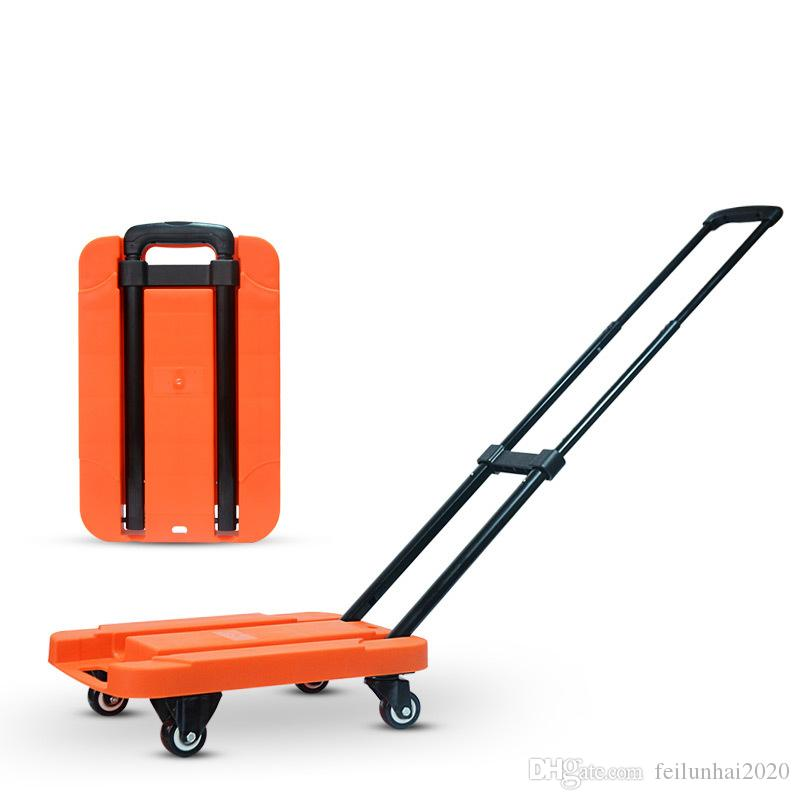 200KG Loading Mute wear-resisting Wheels Folding flat trolley luggage cart shopping cart Portable Stainless Steel Folding truck van home