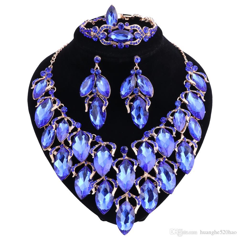Venta de nueva moda de oro de color cristal collar pendientes anillo de la pulsera para las mujeres africanas nupcial conjuntos de la joyería de la boda
