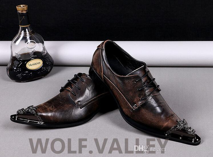 Metal Toe Men Dress Shoes High Quality Men Genuine Leather Shoes ...