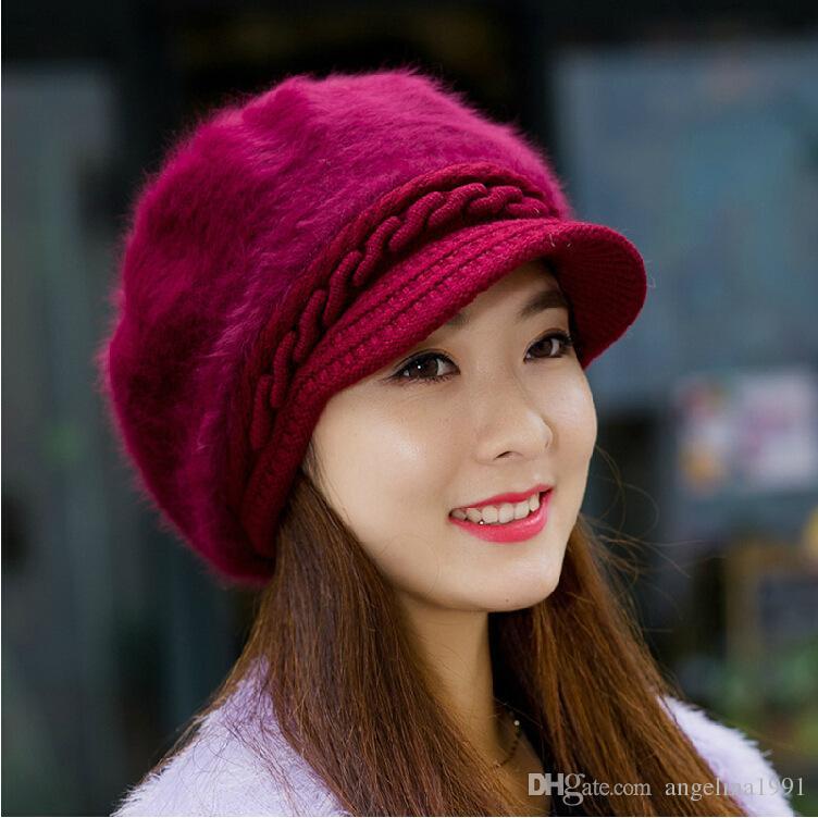 Fashion Winter Warm Hat For Women Rabbit Fur Berets Fashion Flower Ladies Hats Boina Feminina beanie knitted wool caps