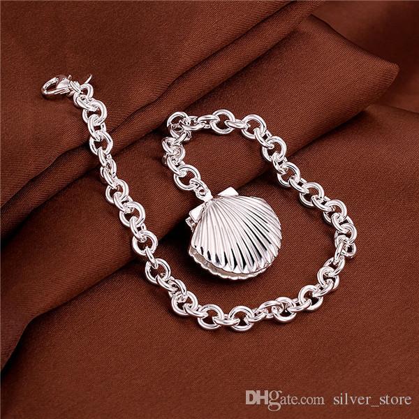 Hot sale christmas gift 925 silver Shell Bracelet DFMCH346,Brand new fashion 925 sterling silver plated Chain link bracelets high grade