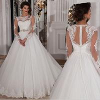 Vestido De Noiva Casamento See Through Back Long Sleeve Lace Wedding Dress Robe De Mariage 2015 A Line Plus Size Wedding Dresses