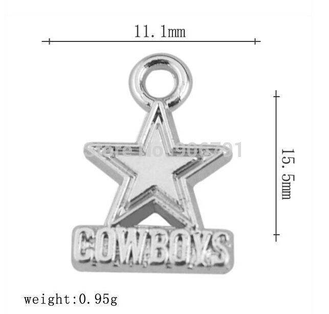 Free Shipping Wholesale 50pcs a lot Rhodium Plated Football Team Logo Sports star cowboys Charms