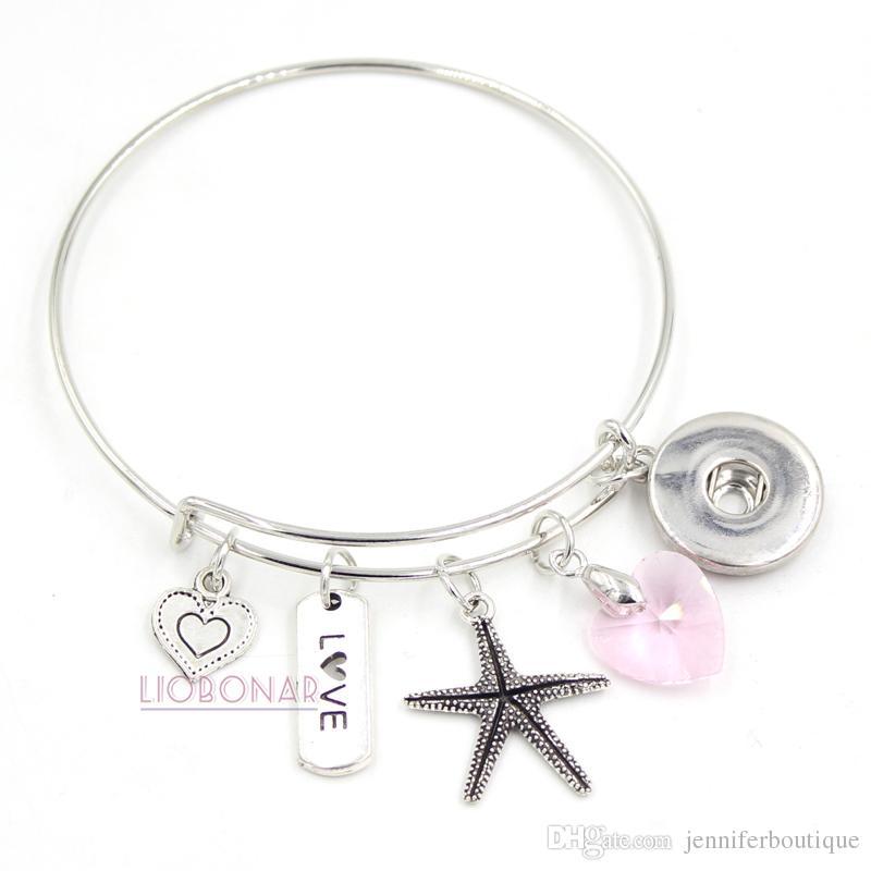 Gros Snap Bijoux Bijoux De Mariage Cadeau Rose Coeur Amour Étoiles De Mer Charme Bracelets Bracelet Extensible Snap Bouton Bracelet Pour cadeau de mariage