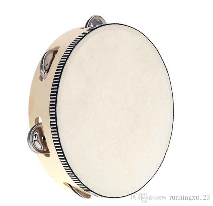 90pcs new arrive Toy Musical Instrument Tambourine 6 inch Hand Held Tambourine Drum Bell Birch Metal Jingles Musical Toy for KTV Party D126