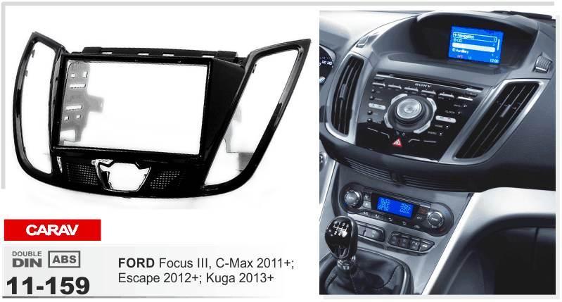 كاراف 11-159 راديو فاشيا عالي الجودة لـ FORD Focus III ، C-Max 2011+ (مع شاشة مقاس 4.2 ) مجموعة تثبيت Fascia Dash CD Trim