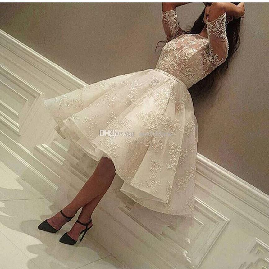 New Knee Length Cocktail Dresses 2019 Jewel Half Sleeve Ball Gown Short Modest Full Lace Arabic Prom Party Evening Gowns Cheap Custom Made