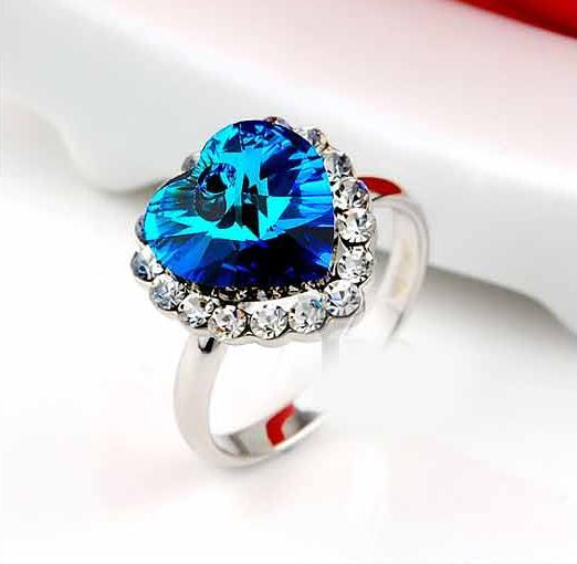 New Titanic Heart Of The Ocean Sapphire Jewelry Ring High Quality Austria Crystal Czech diamond rings Hot sell