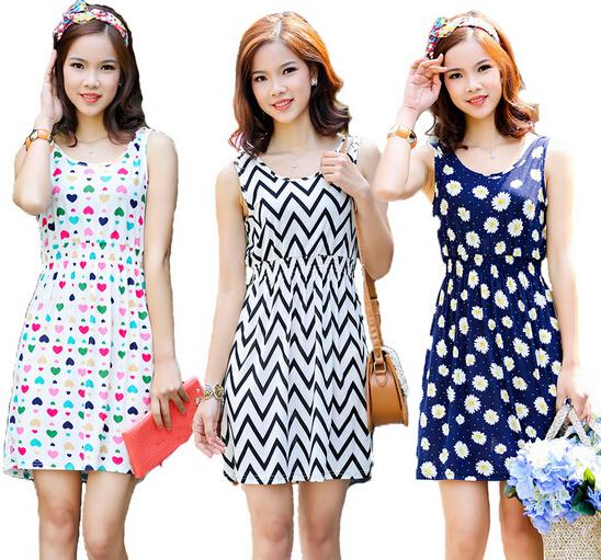 2020 Wholesale 2015 New Women Summer Dress Colorful Striped Party