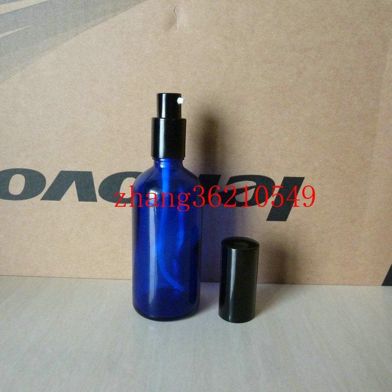 100ml 파란색 유리 로션 병 알루미늄 반짝 이는 블랙 pump.for 로션과 에센셜 오일. 로션 크림 유리 용기